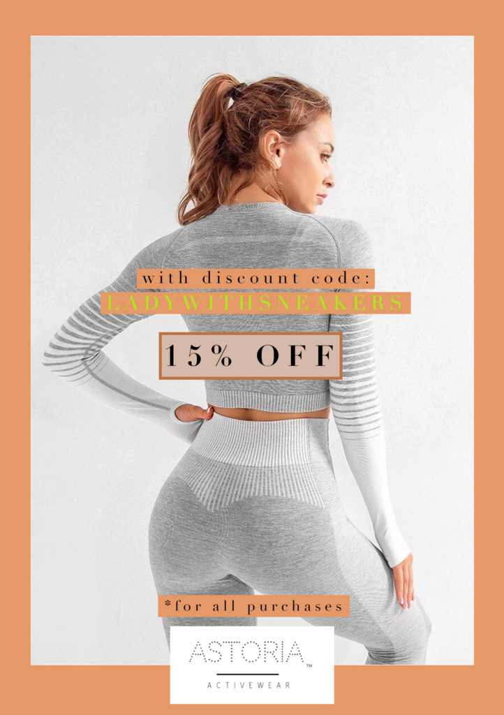 Astoria Activewear Discount Code for Female Gym Freaks To get 15 % off enter LADYWITHSNEAKERS code